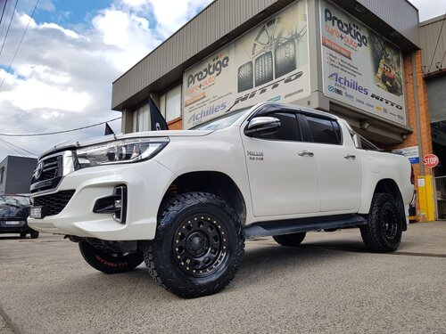 "Toyota Hilux N80 fitted with 17"" King Wheels Australia D-Locker Steelies & Black Bear Tyres AT2's"